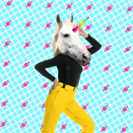 Modern art collage. Woman with unicorn's head on color background