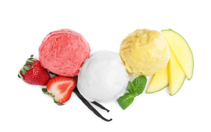 Scoops of different ice creams, fresh fruits and vanilla on white background, top view