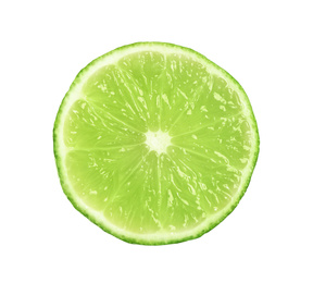Cut fresh ripe lime isolated on white