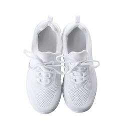 Stylish sport shoes on white background, top view. Trendy footwear