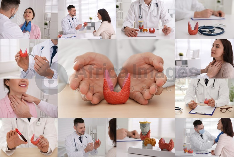 Prevention thyroid diseases. Collage with different photos of doctor and patient