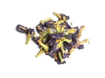 Organic blue Anchan on white background, top view. Herbal tea