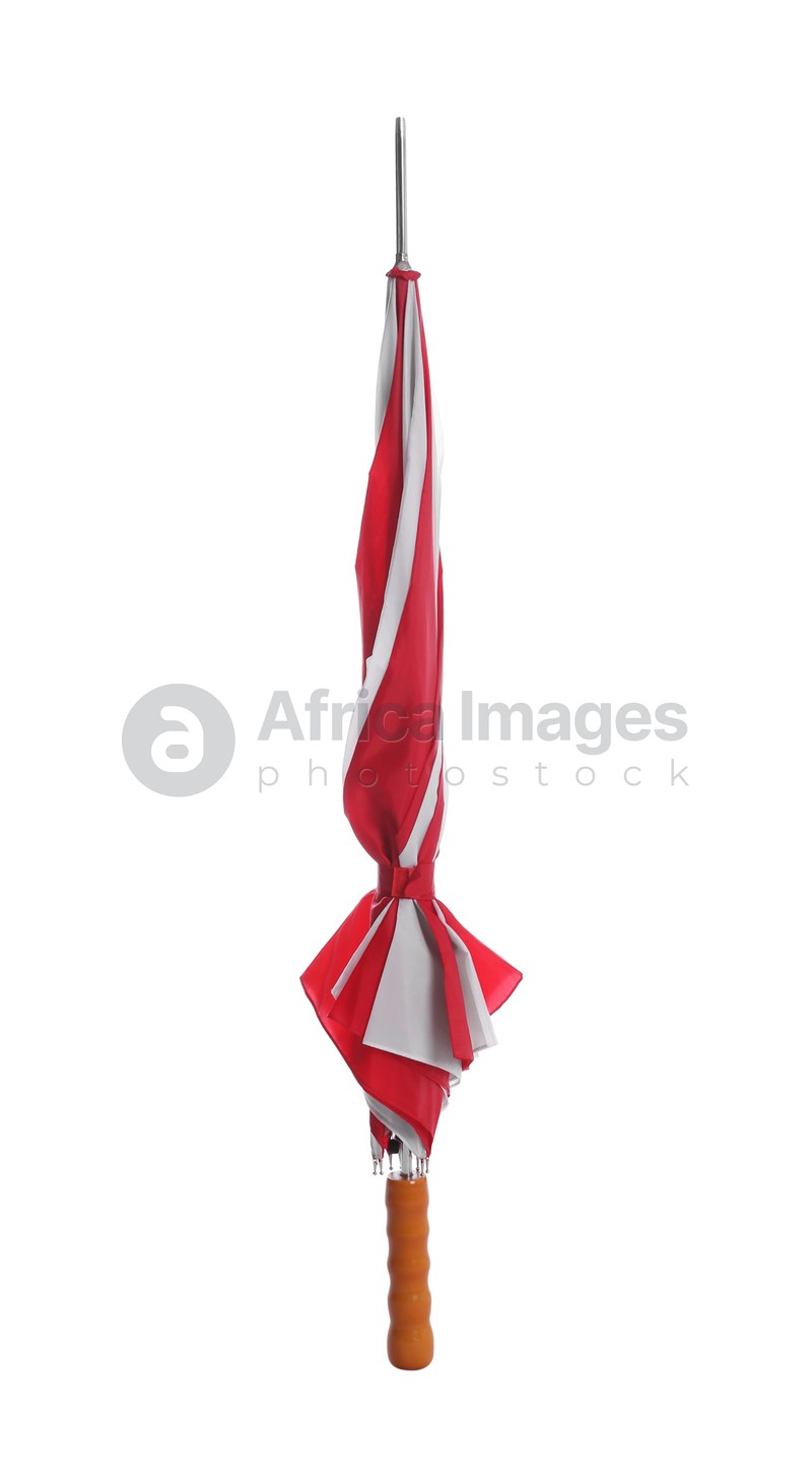 One closed colorful umbrella isolated on white