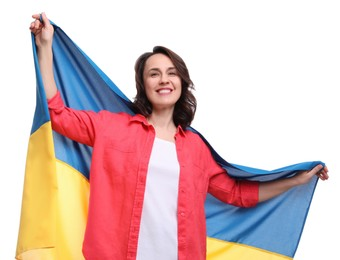 Happy woman with flag of Ukraine on white background