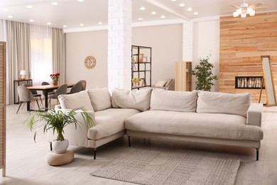 Modern living room interior with comfortable sofa and wooden table