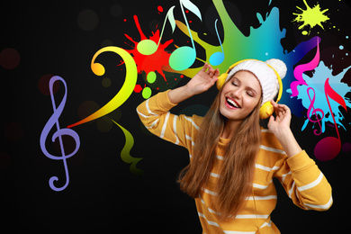Young woman listening music on black background with bright notes illustration