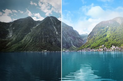 Photo before and after retouch, collage. Picturesque view of small resort town near mountains on riverside
