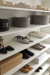 Storage rack with stylish women's shoes and accessories