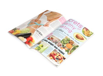 Modern printed healthy food magazine isolated on white