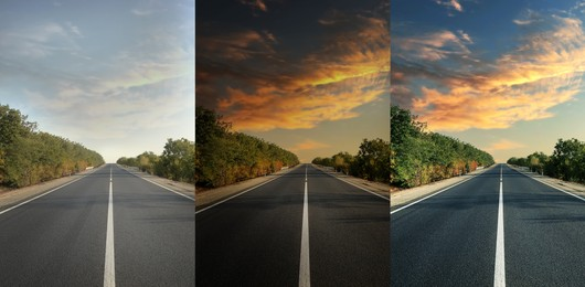 Photos before and after retouch, collage. Beautiful view of empty asphalt highway