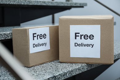 Parcels with stickers Free Delivery on stairs. Courier service