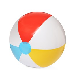 Inflatable colorful beach ball isolated on white
