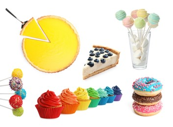 Set with different tasty desserts on white background