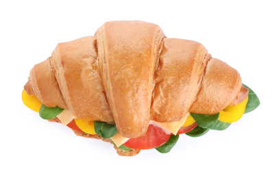 Tasty vegetarian croissant sandwich isolated on white, top view