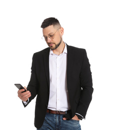 Businessman in glasses with smartphone on white background