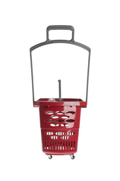 Red empty shopping basket isolated on white