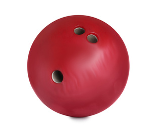 Modern red bowling ball isolated on white