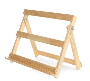 Empty wooden easel isolated on white. Equipment for art