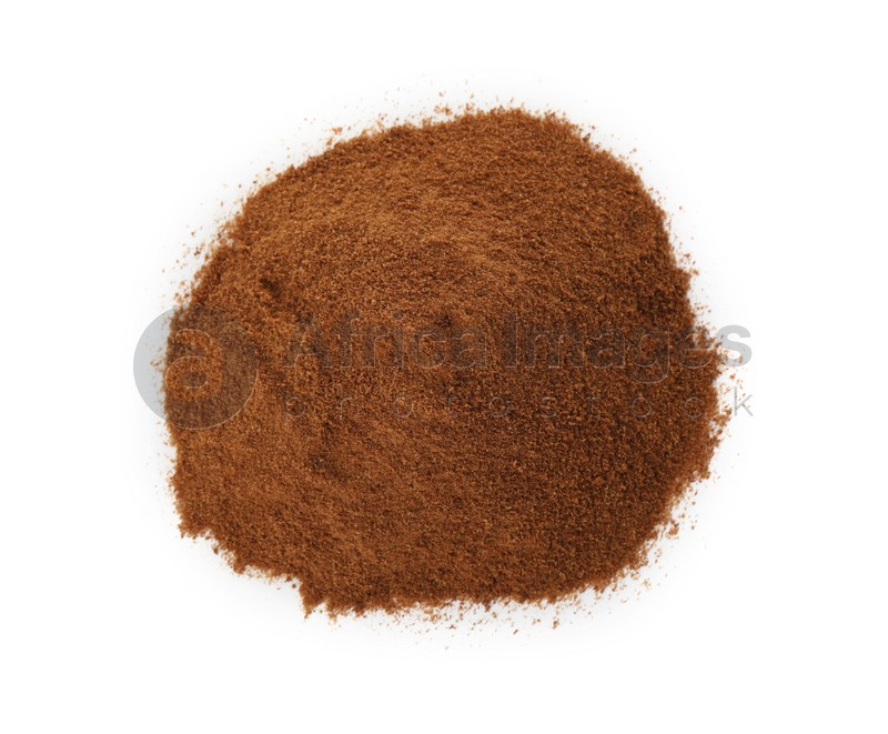 Pile of chicory powder on white background, top view