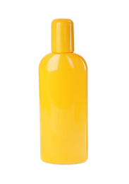 Bottle with sun protection lotion isolated on white