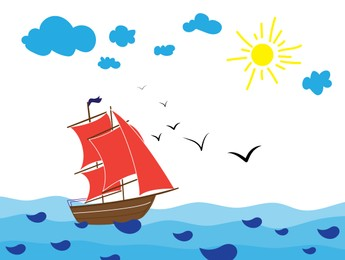 Drawing of beautiful ship and sea on sunny day. Child art