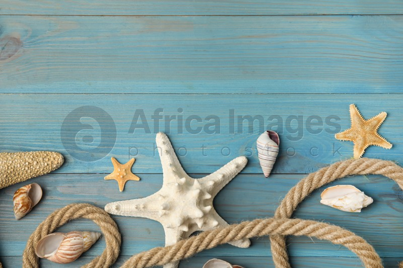 Beautiful sea stars, shells and rope on blue wooden background, flat lay. Space for text