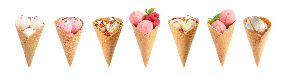 Set of different ice creams in wafer cones on white background. Banner design