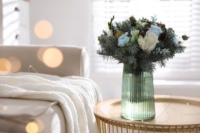 Beautiful wedding winter bouquet on table indoors. Space for text