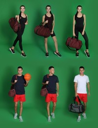 People with sports bags on green background, collage