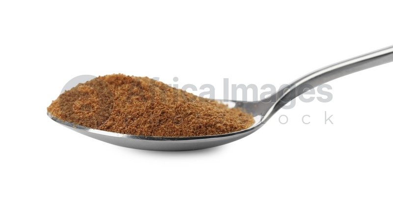 Spoon of chicory powder isolated on white