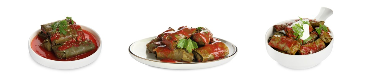 Delicious stuffed grape leaves with tomato sauce on white background, collage. Banner design