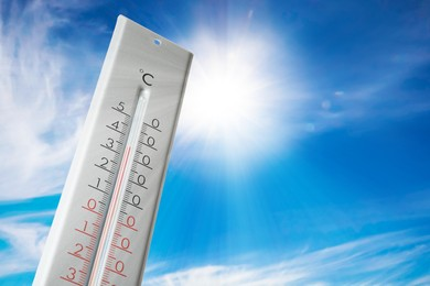 Weather thermometer with high temperature outdoors on hot sunny day. Heat stroke warning