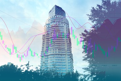 Double exposure of online trading platform and building in city center. Stock exchange