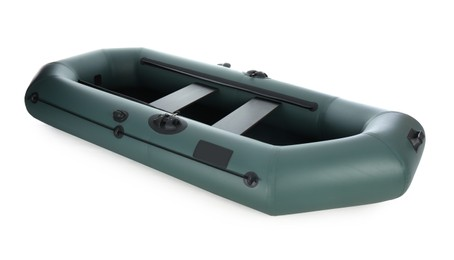 Inflatable rubber fishing boat with seats isolated on white
