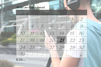 Double exposure of calendar and video operator with camera working outdoors. Personal schedule