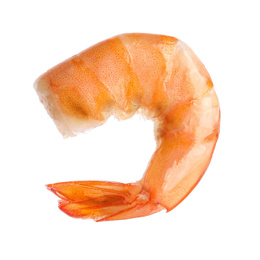 Delicious cooked shrimp isolated on white. Healthy seafood