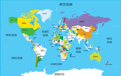 World map with names of countries and oceans. Travel agency concept