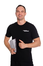 Personal trainer with clipboard showing thumb up on white background. Gym instructor
