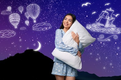 Beautiful Asian woman with pillow dreaming about voyage, night starry sky on background
