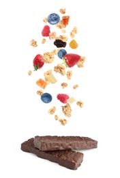 Tasty chocolate glazed protein bars and granola with berries falling on white background