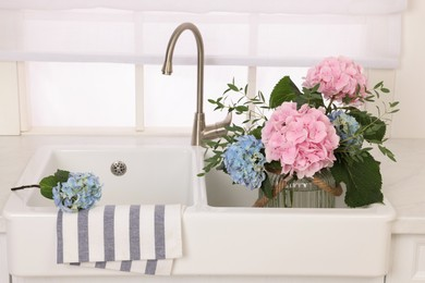 Vase with beautiful hortensia flowers in kitchen sink
