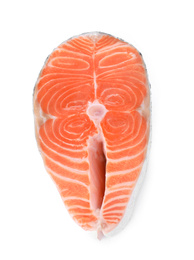 Fresh raw salmon on white background, top view. Fish delicacy