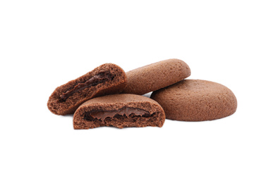 Tasty homemade chocolate cookies on white background