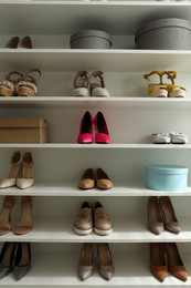 Storage rack with different stylish women's shoes
