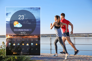 Sporty couple running outdoors and weather forecast widget. Mobile application