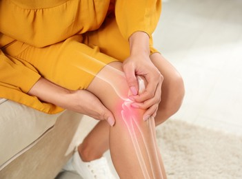 Sick woman at home, closeup. Digital compositing with illustration of knee joint