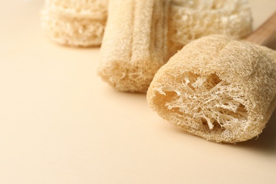 Natural shower loofah sponges on beige background, closeup. Space for text