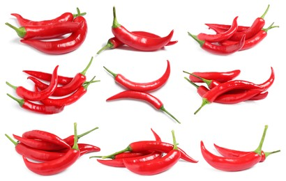 Set with ripe red chili peppers on white background