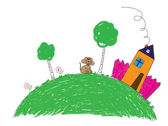Drawing of house, trees and cute dog. Child art