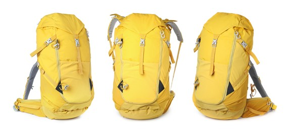 Yellow backpacks on white background, banner design. Camping tourism